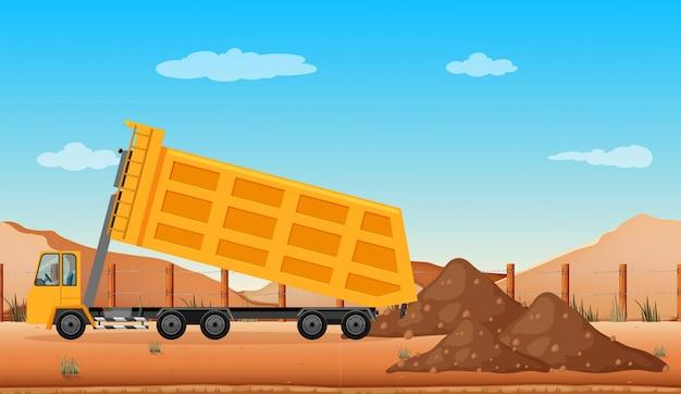 Tomber un camion sur le chantier
