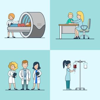 Tomographie plate linéaire et cabinet pédiatrique, transfusion sanguine, ensemble de matériel médical. soins de santé, concept d'aide professionnelle.
