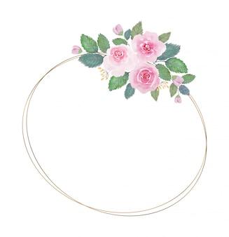 Ton clair belle fleur aquarelle avec cadre doré mince sur fond blanc