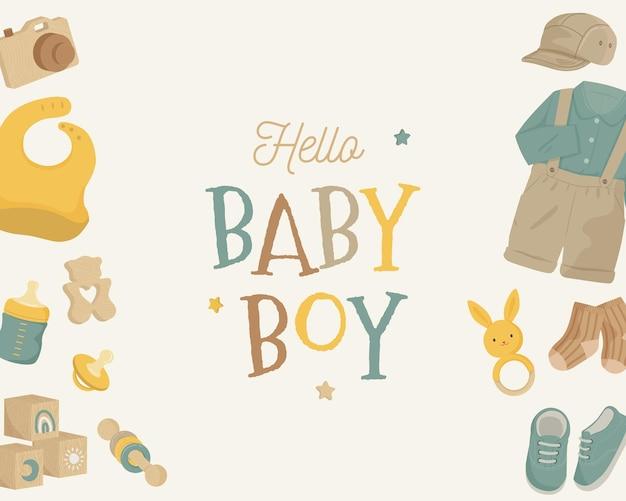Ton de terre esthétique de fond de bébé garçon avec des éléments de bébé