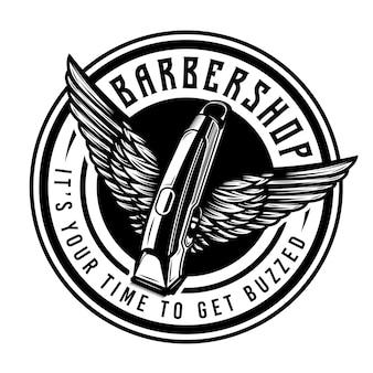 Tondeuse de barbier vintage avec emblème d'insigne d'ailes