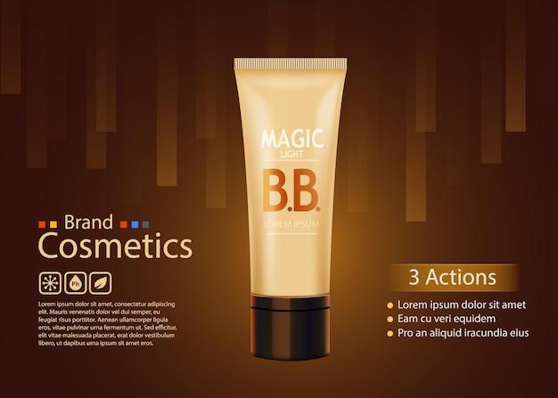 Toner de luxe pour la peau, crème bb ou gommage peeling contenu dans un tube, paroi sombre.