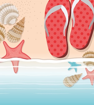 Tongs d'été dans la conception de la plage