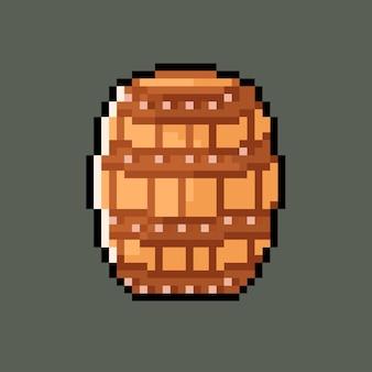 Tonneau en bois dans un style pixel art
