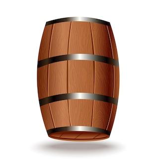 Tonneau en bois réaliste. fût de chêne isolé avec corps en bois avec anneaux en fer sur fond blanc. baril réaliste de vecteur pour le whisky, le rhum, le cognac, le vin, la bière, le kvas ou d'autres boissons
