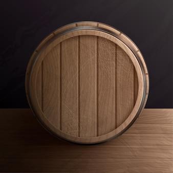 Tonneau en bois sur table en bois