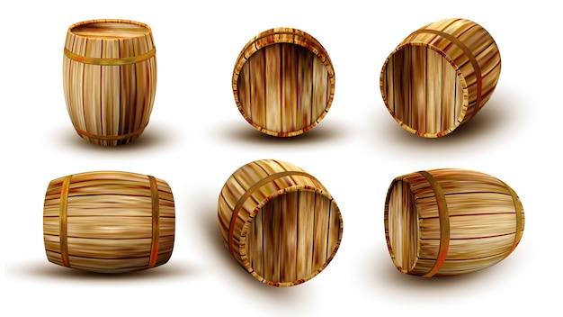 Tonneau en bois vintage dans un côté différent