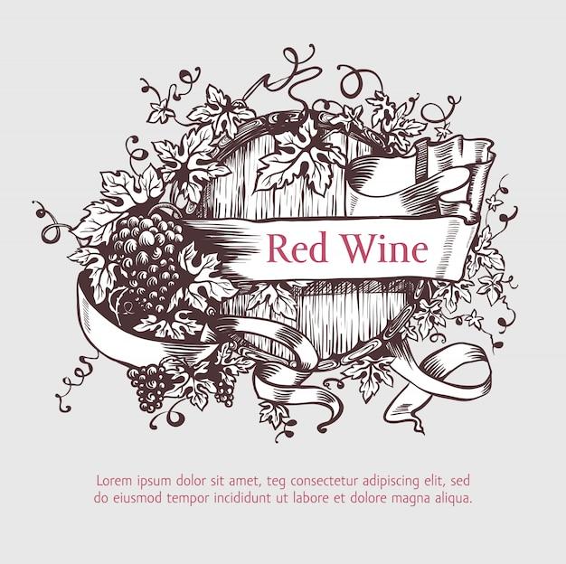 Tonneau de vin avec couronne de raisins et bannière.