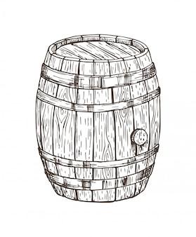 Tonnelet en bois pour boissons alcoolisées isolé