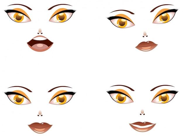 Toon visage féminin aux yeux jaunes
