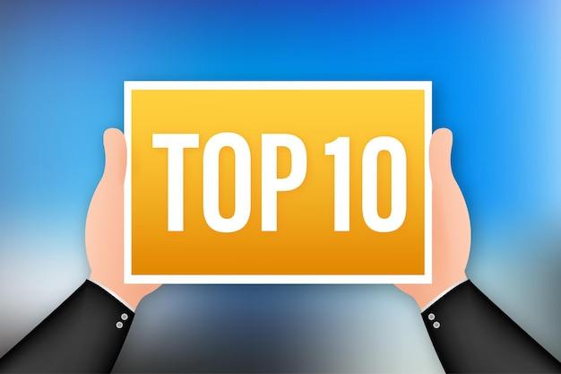 Top 10 des étiquettes. icône de couronne de laurier doré. illustration vectorielle de stock.