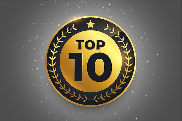 Top 10 de la meilleure conception de symbole d'insigne d'or d'étiquette de récompense
