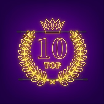 Top 10 - top ten or avec étiquette néon bleu sur fond noir. illustration vectorielle.