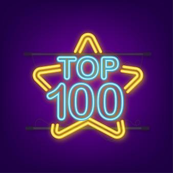 Top 100 - top ten or avec étiquette néon bleu sur fond noir. illustration vectorielle.