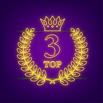 Top 3 des étiquettes. icône de couronne de laurier au néon. illustration vectorielle de stock.