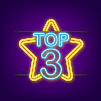 Top 3 - top ten or avec étiquette néon bleu sur fond noir. illustration vectorielle.