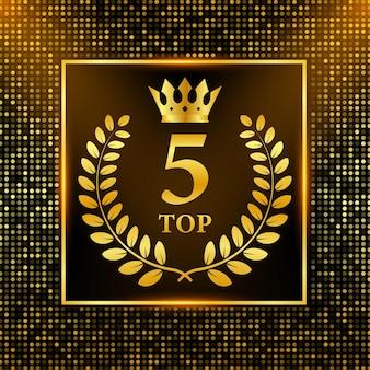 Top 5 des étiquettes. icône de couronne de laurier doré. illustration vectorielle de stock.