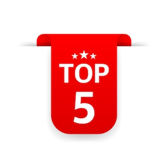 Top 5. ruban rouge. illustration plate sur blanc