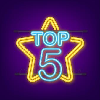 Top 5 - top ten or avec étiquette néon bleu sur fond noir. illustration vectorielle.