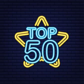 Top 50 - top ten or avec étiquette néon bleu sur fond noir. illustration vectorielle.