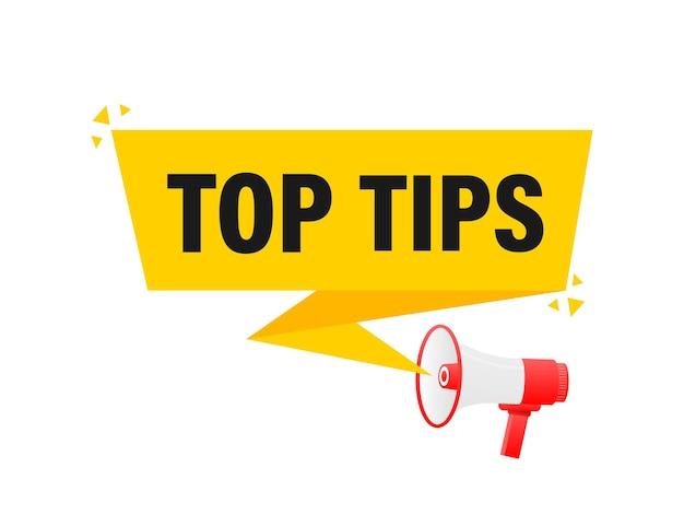 Top conseils mégaphone bannière jaune dans l'illustration de style 3d.