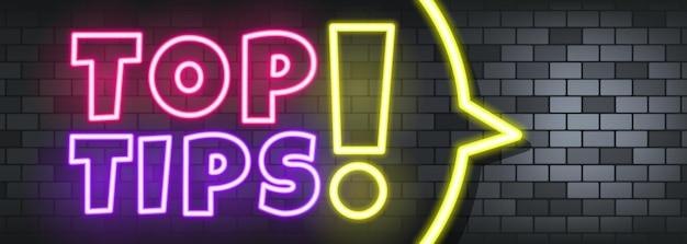 Top conseils texte néon sur fond de pierre. meilleures astuces. pour les affaires, le marketing et la publicité. vecteur sur fond isolé. eps 10.