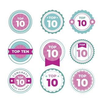 Top dix des collections d'étiquettes