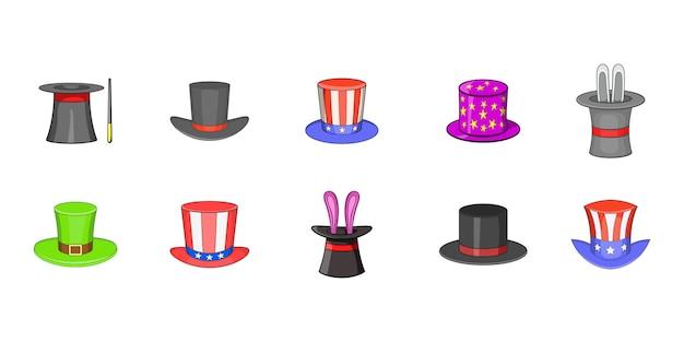 Top hat élément défini. jeu de dessin animé d'éléments vectoriels de chapeau haut de forme