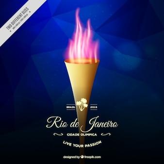 Torche réaliste avec un fond de flammes des jeux olympiques