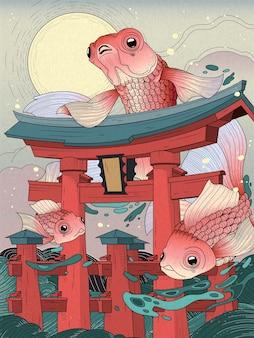 Torii japonais en mer; avec lune et poissons dorés
