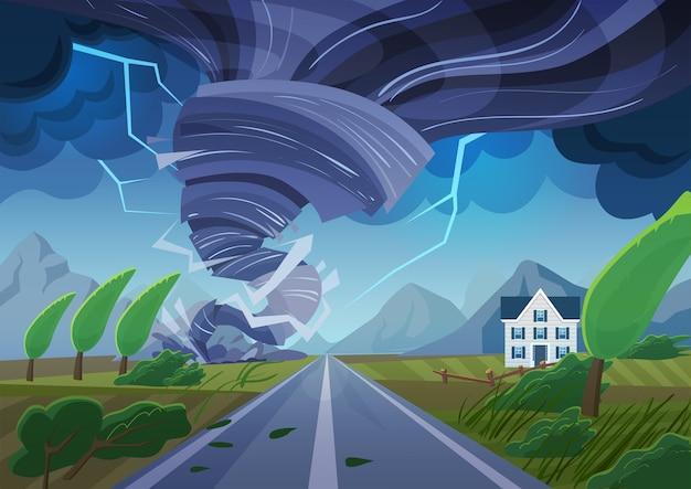 Tornade tordue sur la route détruisant un bâtiment civil. tempête d'ouragan dans le paysage de campagne. trombe de catastrophe naturelle dans le champ.