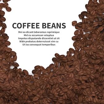 Torréfaction modèle de fond de grains de café. grain de café torréfié, illustration de l'arôme de graines arabica