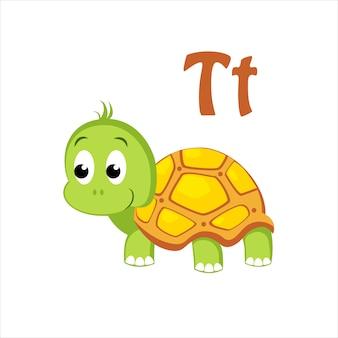Tortue. alphabet drôle, animal