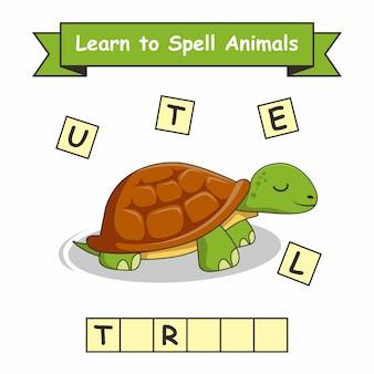 La tortue apprend à épeler les animaux