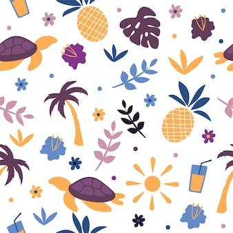 Tortue de couleur d'été sur la plage - illustration d'été doodle mignon dessinés à la main - modèle sans couture de vecteur