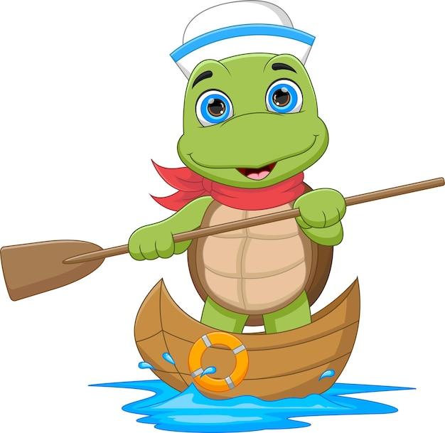 Tortue de dessin animé naviguant sur le bateau en bois