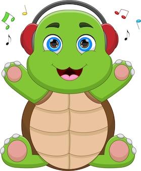 Tortue drôle de dessin animé écoutant de la musique