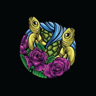 Tortue fleur logo fond noir