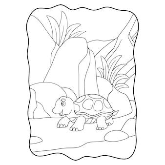 Tortue d'illustration de dessin animé marchant au milieu de la forêt près des rochers dans le livre ou la page de jour pour les enfants en noir et blanc