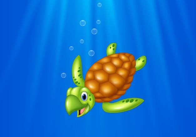 Tortue de mer de dessin animé nageant dans l'océan