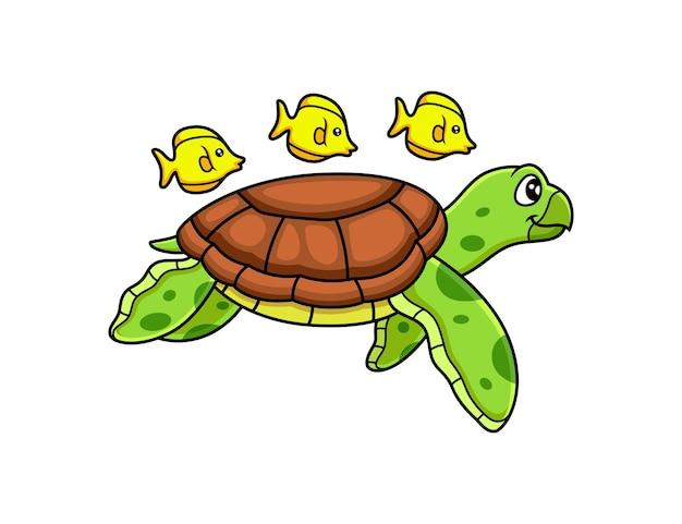 Tortue de mer nager avec dessin animé de poisson