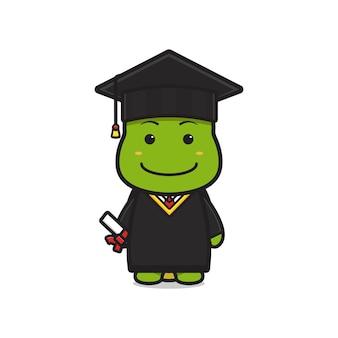 Tortue mignonne sur l'illustration d'icône de dessin animé de jour de remise des diplômes. concevoir un style cartoon plat isolé