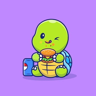 Tortue mignonne mangeant un hamburger et une boisson gazeuse cartoon icon illustration. concept d'icône de nourriture animale isolé premium. style de bande dessinée plat