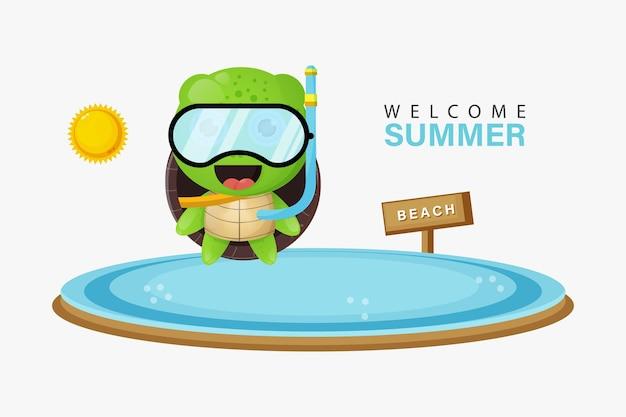 Tortue mignonne nageant sur la plage avec des salutations d'été
