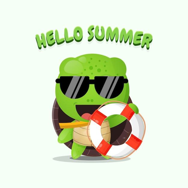 Tortue mignonne portant un flotteur avec des salutations d'été