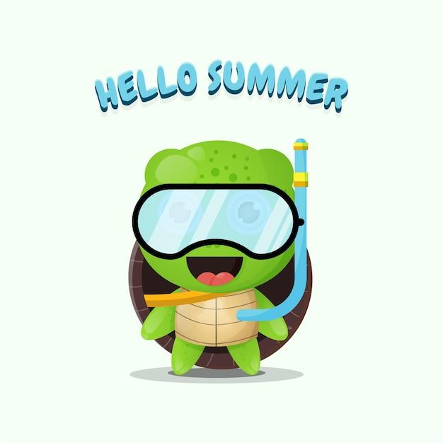 Tortue mignonne portant des vêtements de plongée avec des salutations d'été