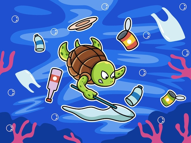 Tortue nageant nettoyer la pollution dans la mer