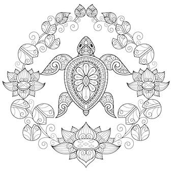 Tortue et nénuphar, illustration de croquis dessinés à la main pour livre de coloriage adulte.