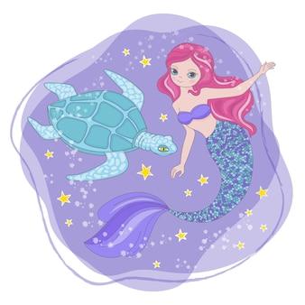 Tortue sirène dessin animé cosmos galactique princesse voyage voyage clip art espace vector illustration pour impression