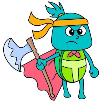 Tortue avec un visage sérieux portant une hache prête à se battre, doodle dessiner kawaii. illustration vectorielle